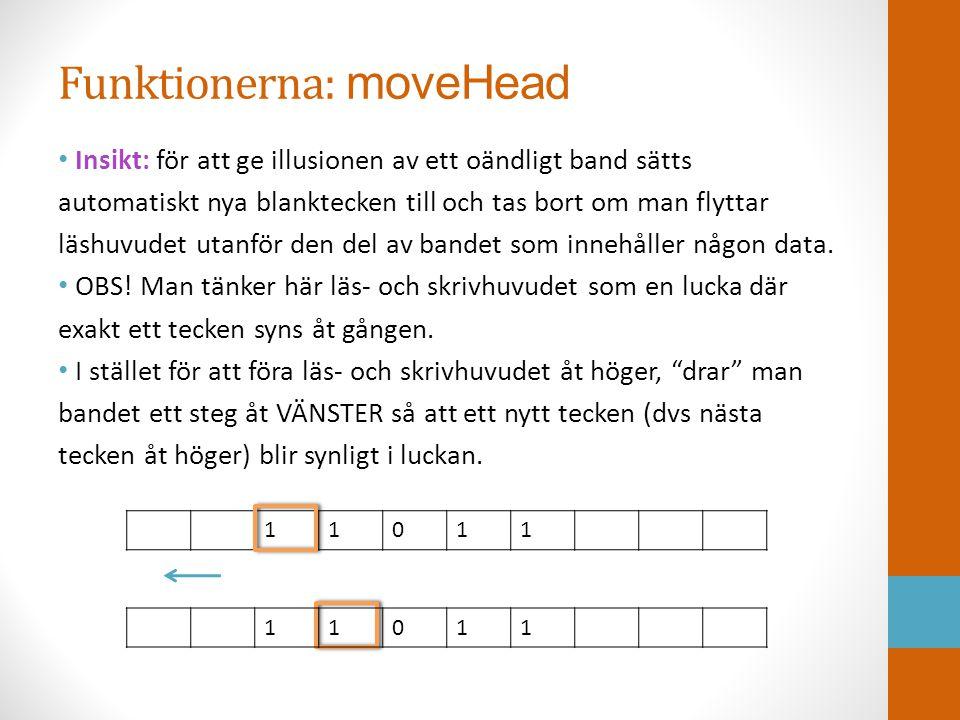 Funktionerna: moveHead • Insikt: för att ge illusionen av ett oändligt band sätts automatiskt nya blanktecken till och tas bort om man flyttar läshuvu