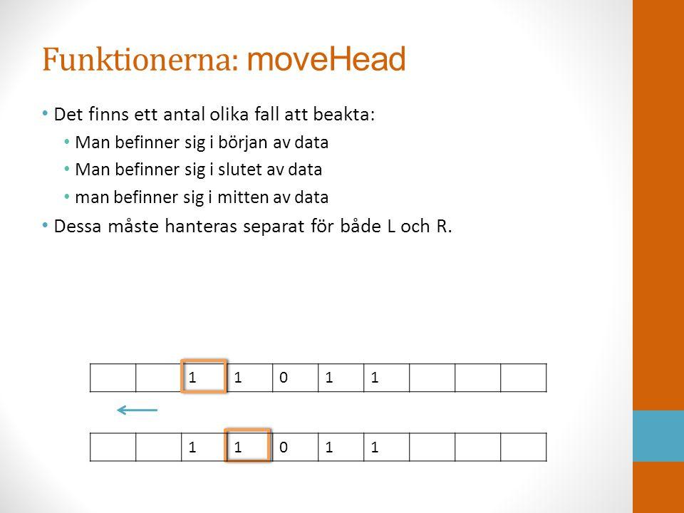 Funktionerna: moveHead • Det finns ett antal olika fall att beakta: • Man befinner sig i början av data • Man befinner sig i slutet av data • man befi