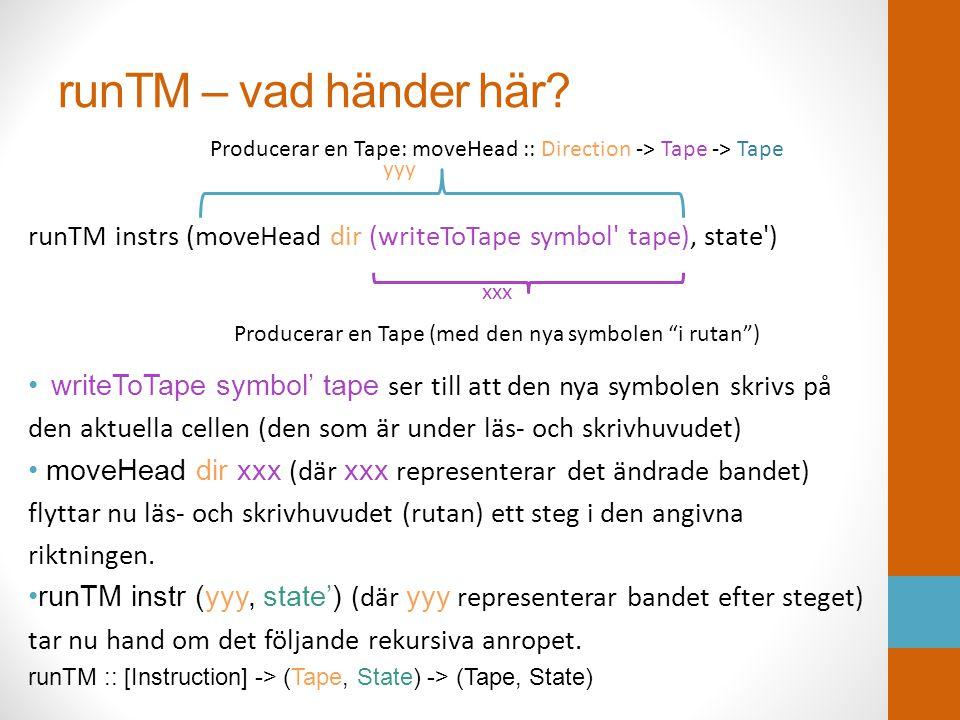 runTM – vad händer här? runTM instrs (moveHead dir (writeToTape symbol' tape), state') • writeToTape symbol' tape ser till att den nya symbolen skrivs
