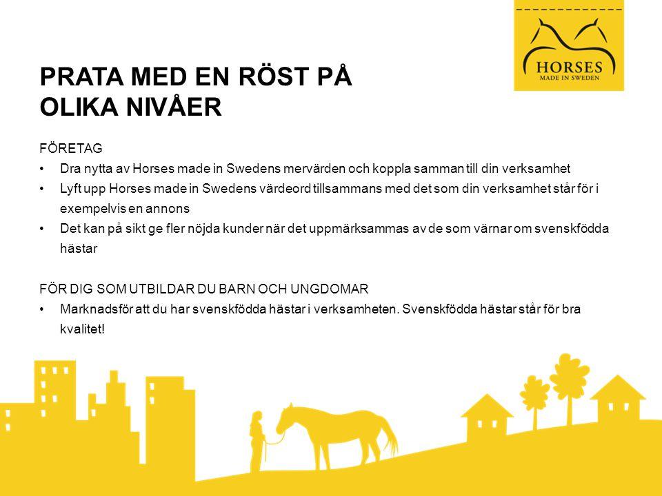 PRATA MED EN RÖST PÅ OLIKA NIVÅER FÖRETAG •Dra nytta av Horses made in Swedens mervärden och koppla samman till din verksamhet •Lyft upp Horses made in Swedens värdeord tillsammans med det som din verksamhet står för i exempelvis en annons •Det kan på sikt ge fler nöjda kunder när det uppmärksammas av de som värnar om svenskfödda hästar FÖR DIG SOM UTBILDAR DU BARN OCH UNGDOMAR •Marknadsför att du har svenskfödda hästar i verksamheten.