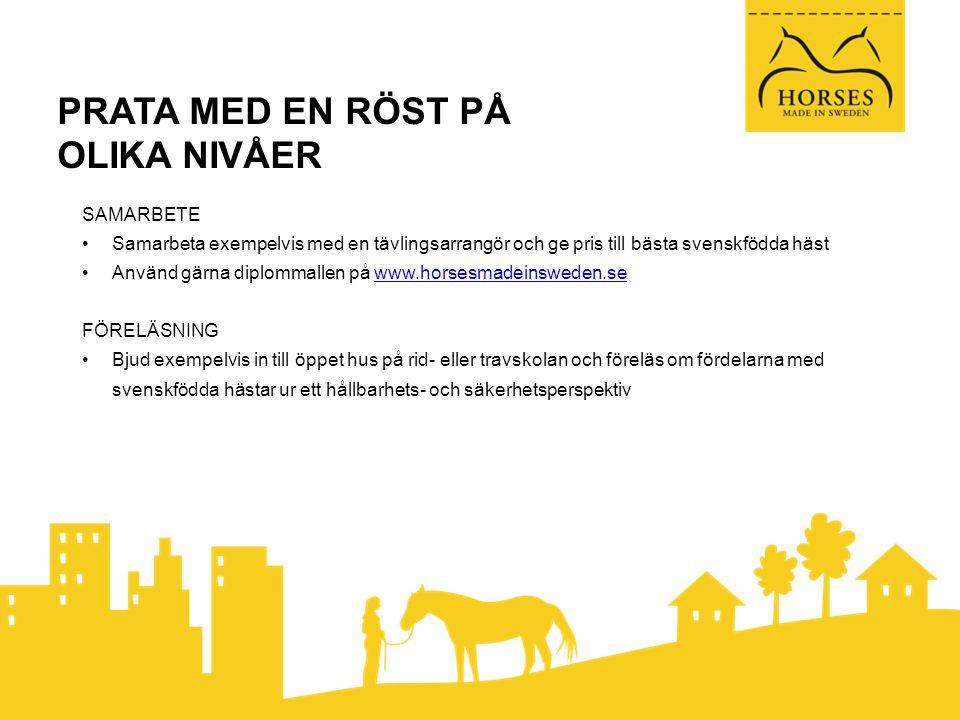 PRATA MED EN RÖST PÅ OLIKA NIVÅER SAMARBETE •Samarbeta exempelvis med en tävlingsarrangör och ge pris till bästa svenskfödda häst •Använd gärna diplommallen på www.horsesmadeinsweden.sewww.horsesmadeinsweden.se FÖRELÄSNING •Bjud exempelvis in till öppet hus på rid- eller travskolan och föreläs om fördelarna med svenskfödda hästar ur ett hållbarhets- och säkerhetsperspektiv