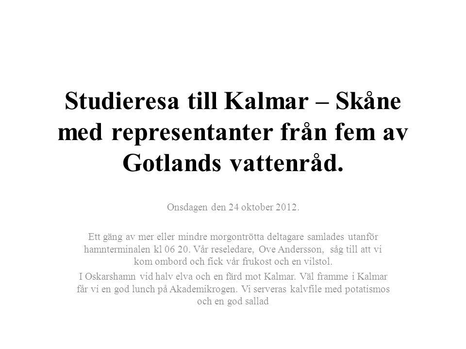 Studieresa till Kalmar – Skåne med representanter från fem av Gotlands vattenråd. Onsdagen den 24 oktober 2012. Ett gäng av mer eller mindre morgontrö