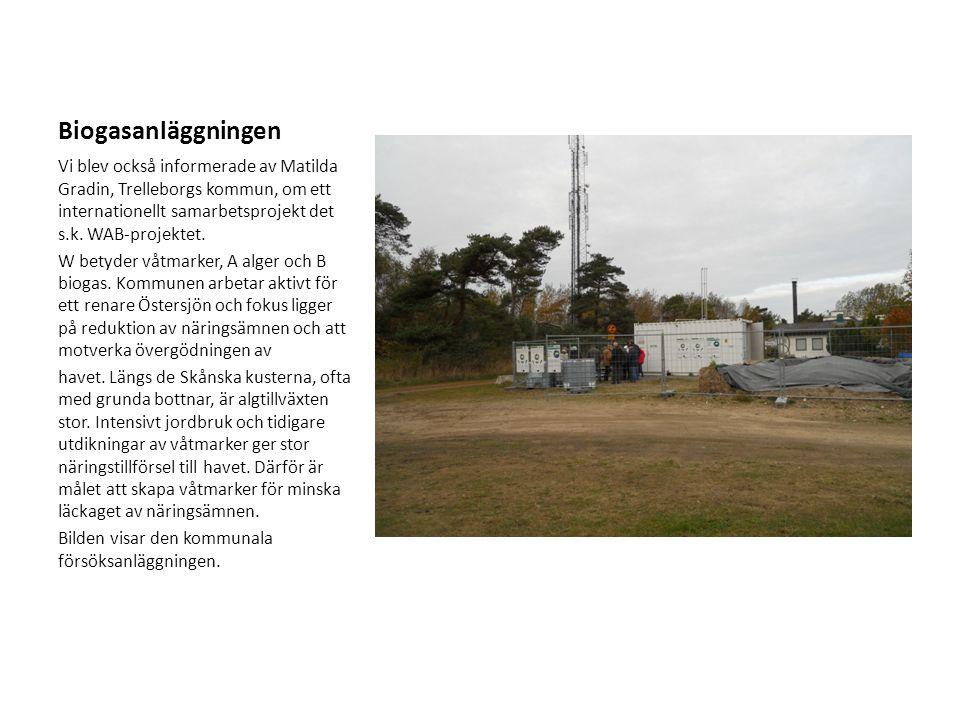 Biogasanläggningen Vi blev också informerade av Matilda Gradin, Trelleborgs kommun, om ett internationellt samarbetsprojekt det s.k. WAB-projektet. W