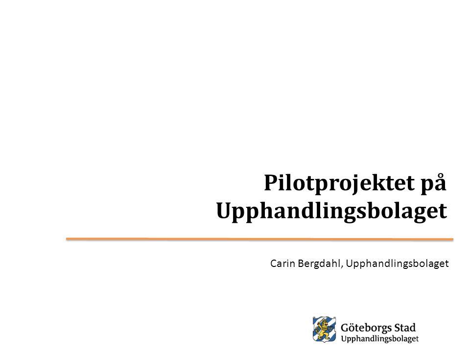 Pilotprojektet på Upphandlingsbolaget Carin Bergdahl, Upphandlingsbolaget