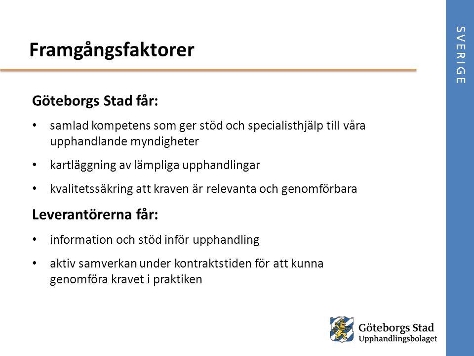 Göteborgs Stad får: • samlad kompetens som ger stöd och specialisthjälp till våra upphandlande myndigheter • kartläggning av lämpliga upphandlingar •