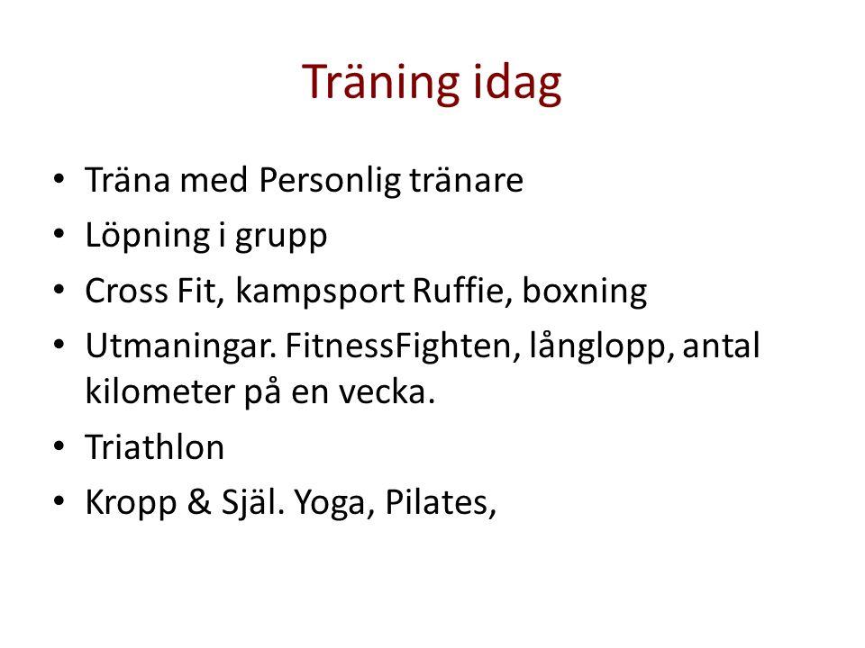 Träning idag • Träna med Personlig tränare • Löpning i grupp • Cross Fit, kampsport Ruffie, boxning • Utmaningar. FitnessFighten, långlopp, antal kilo