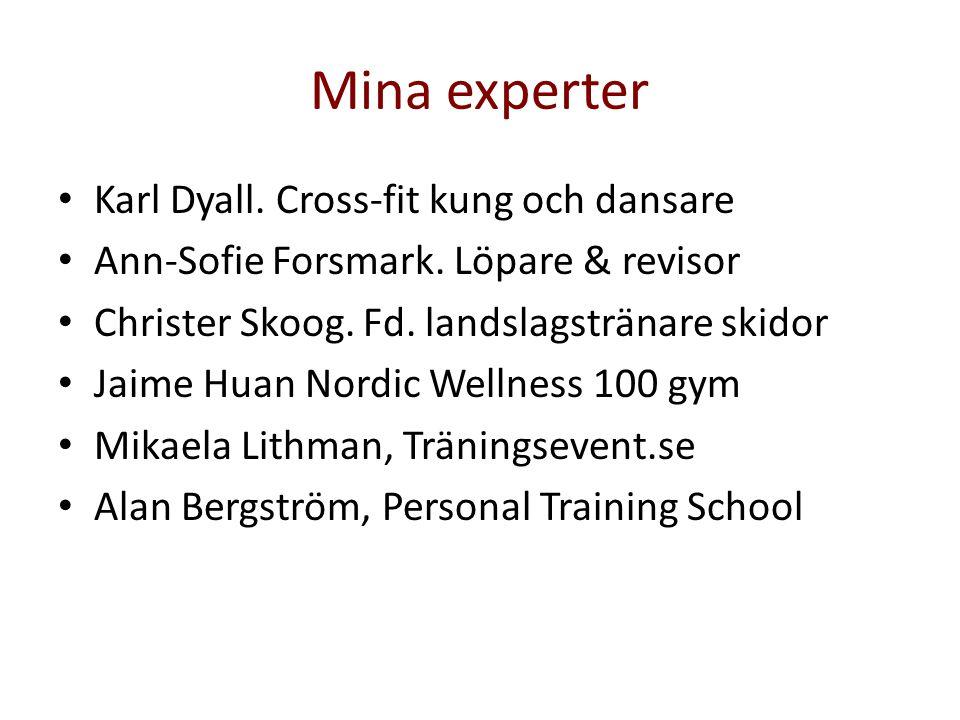 Mina experter • Karl Dyall. Cross-fit kung och dansare • Ann-Sofie Forsmark. Löpare & revisor • Christer Skoog. Fd. landslagstränare skidor • Jaime Hu