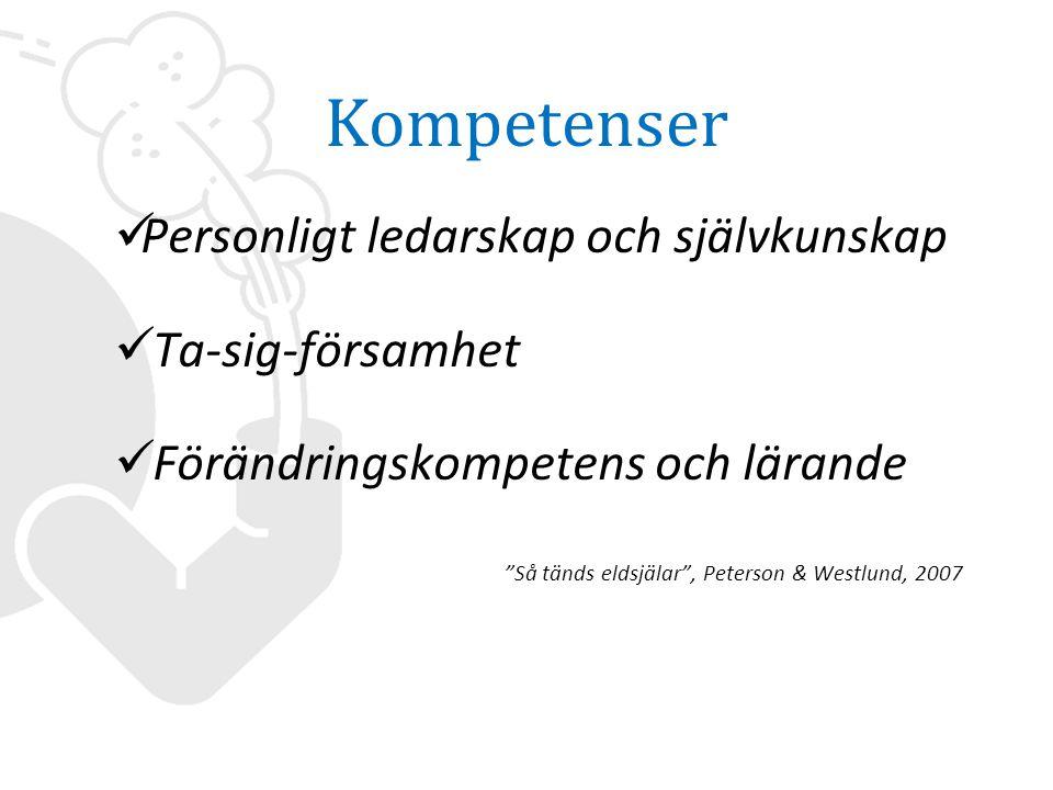 Kompetenser  Personligt ledarskap och självkunskap  Ta-sig-församhet  Förändringskompetens och lärande Så tänds eldsjälar , Peterson & Westlund, 2007