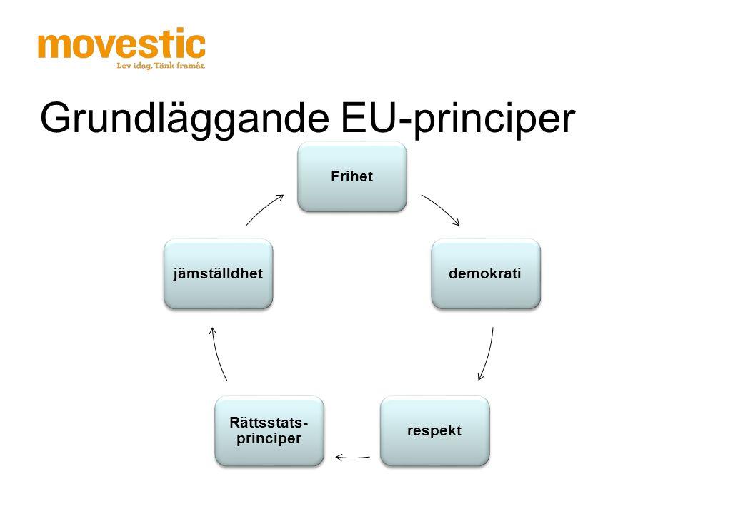 Grundläggande EU-principer Frihetdemokratirespekt Rättsstats- principer jämställdhet