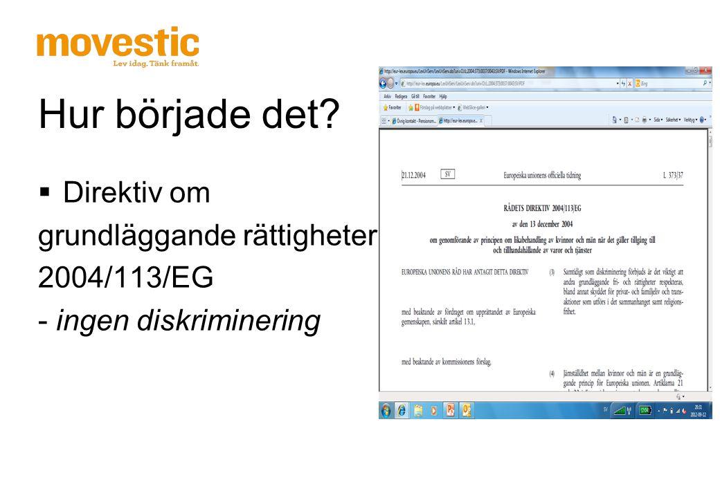 Hur började det?  Direktiv om grundläggande rättigheter 2004/113/EG - ingen diskriminering