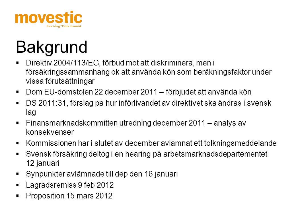 Nuläge  Från den 21 december 2012 ska premier och ersättningar vara könsneutrala  Alla länder inom EU använder på något sätt kön som faktor vid försäkring  Kommissionen har tolkat avgörandet, deras tolkning ligger till grund för den svenska propositionen.