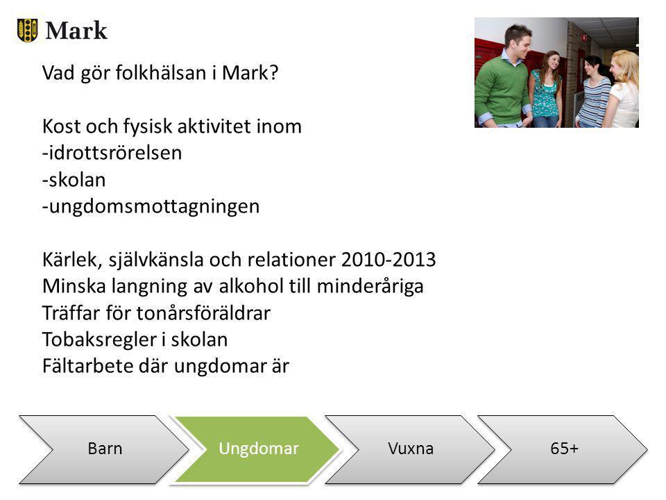 BarnUngdomarVuxna65+ Vad gör folkhälsan i Mark? Kost och fysisk aktivitet inom -idrottsrörelsen -skolan -ungdomsmottagningen Kärlek, självkänsla och r
