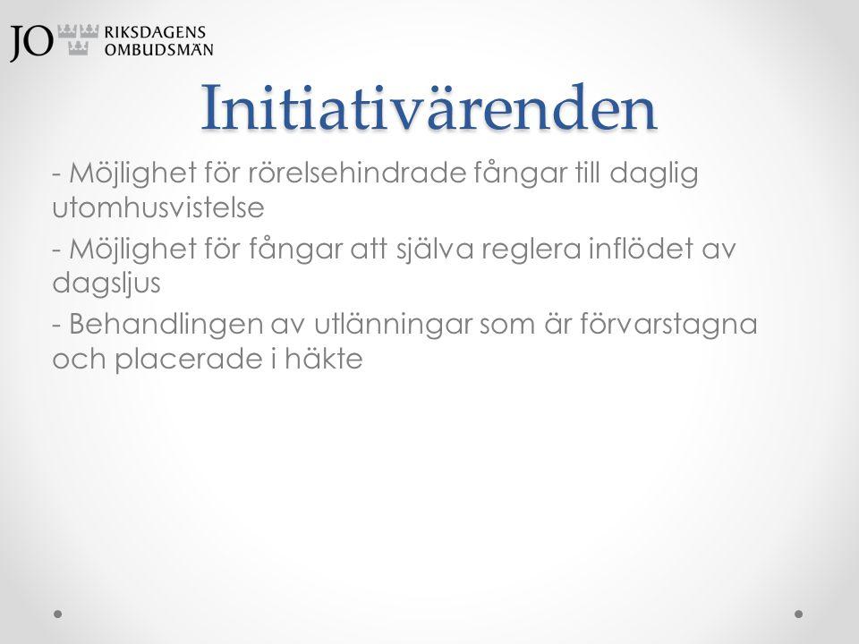 Initiativärenden - Möjlighet för rörelsehindrade fångar till daglig utomhusvistelse - Möjlighet för fångar att själva reglera inflödet av dagsljus - B