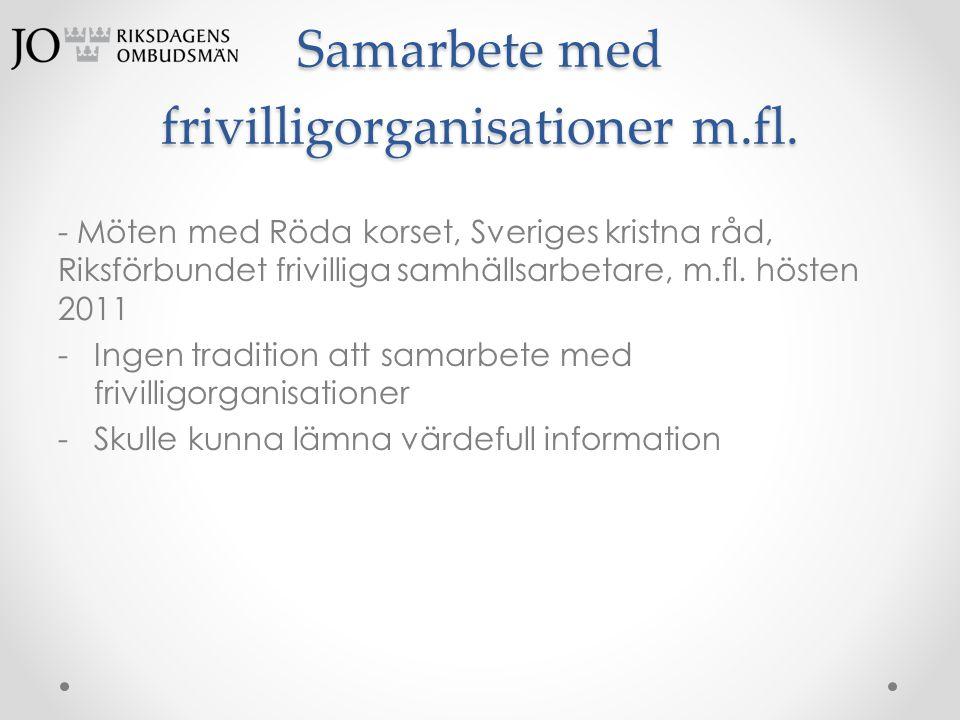 Samarbete med frivilligorganisationer m.fl. - Möten med Röda korset, Sveriges kristna råd, Riksförbundet frivilliga samhällsarbetare, m.fl. hösten 201