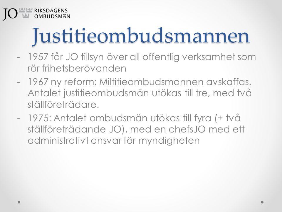 Justitieombudsmannen -1957 får JO tillsyn över all offentlig verksamhet som rör frihetsberövanden -1967 ny reform: Miltitieombudsmannen avskaffas. Ant