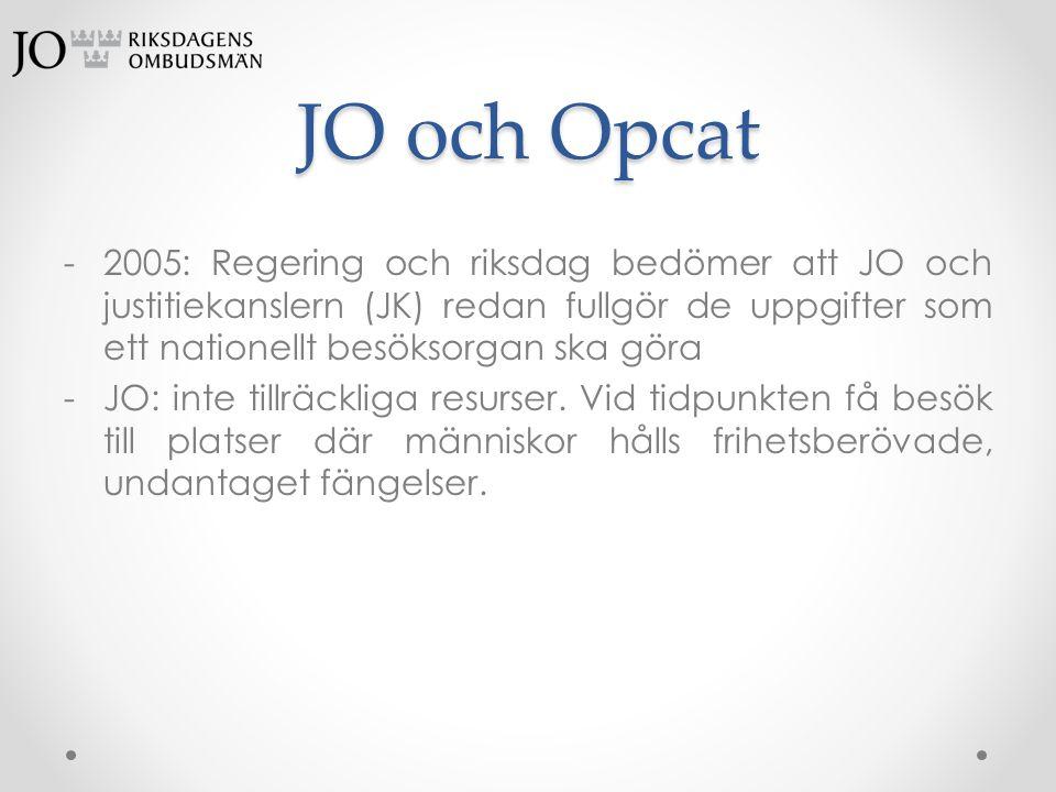 JO och Opcat -2005: Regering och riksdag bedömer att JO och justitiekanslern (JK) redan fullgör de uppgifter som ett nationellt besöksorgan ska göra -