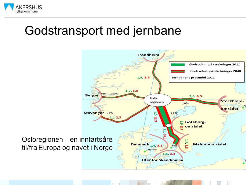 Godstransport med jernbane Osloregionen – en innfartsåre til/fra Europa og navet i Norge