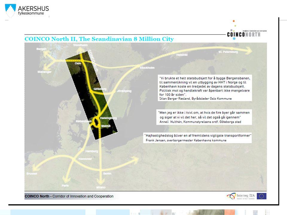DSA strategi-COINCO er et redskap for realiseringen av målsettingen Den Skandinaviska Arenans strategi : För att realisera målsättningarna är Arenans strategi att COINCO belyser: 1.Etablera snabbtåg/intercitytåg Oslo-Göteborg-Köpenhamn och att dubbelspår, för hastigheter upp till 250 km/t, är fullt utbyggt senast år 2030 2.På sikt etablera höghastighetståg mellan Oslo och Köpenhamn/Kastrup och vidare mot det europeiska höghastighetsnätet 3.Skapa en gemensam gränsöverskridande planering i infrastrukturfrågor mellan Sverige, Danmark och Norge 4.Prioritera skandinaviska snabb- och höghastighetståg inom ramen för EU och den transnationella europeiska transportinfrastrukturen, TEN-T 5.Främja den Nordiska Triangeln.