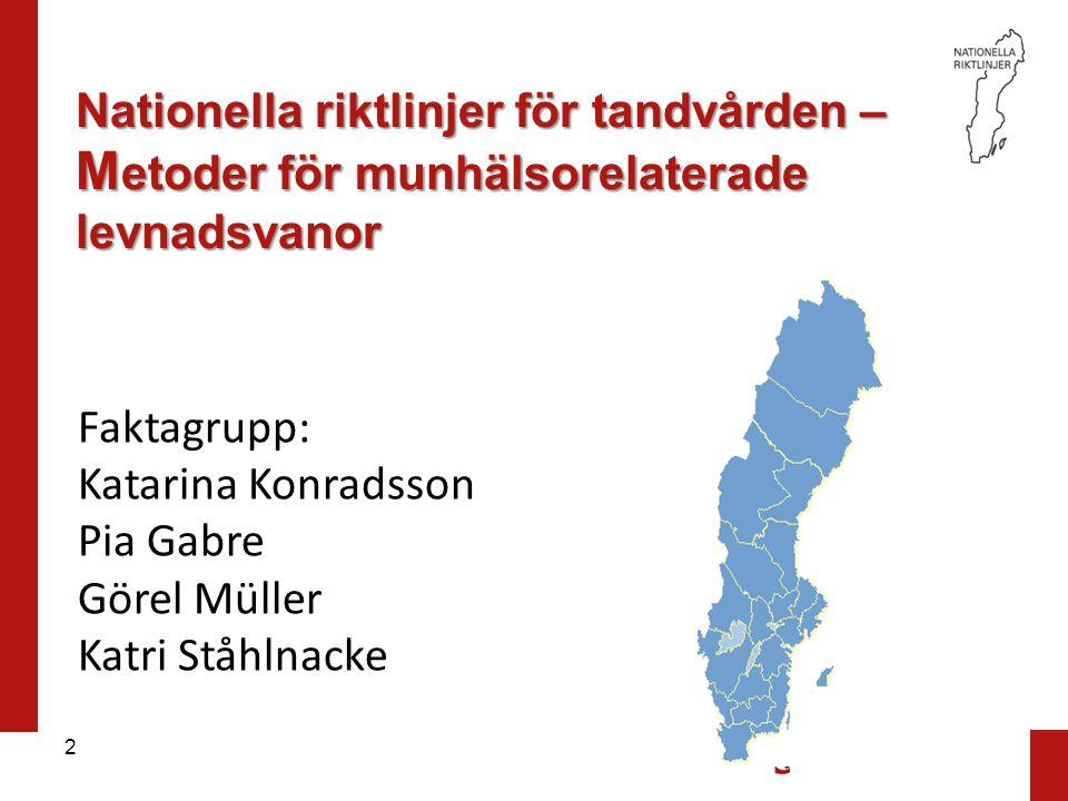 2 Nationella riktlinjer för tandvården – M etoder för munhälsorelaterade levnadsvanor Faktagrupp: Katarina Konradsson Pia Gabre Görel Müller Katri Stå