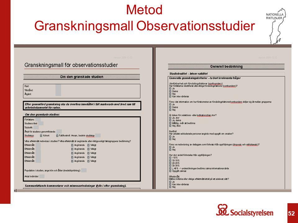 52 Metod Granskningsmall Observationsstudier