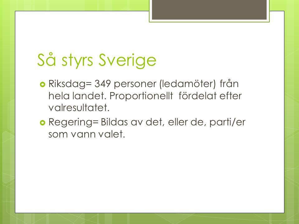 Så styrs Sverige  Riksdag= 349 personer (ledamöter) från hela landet.