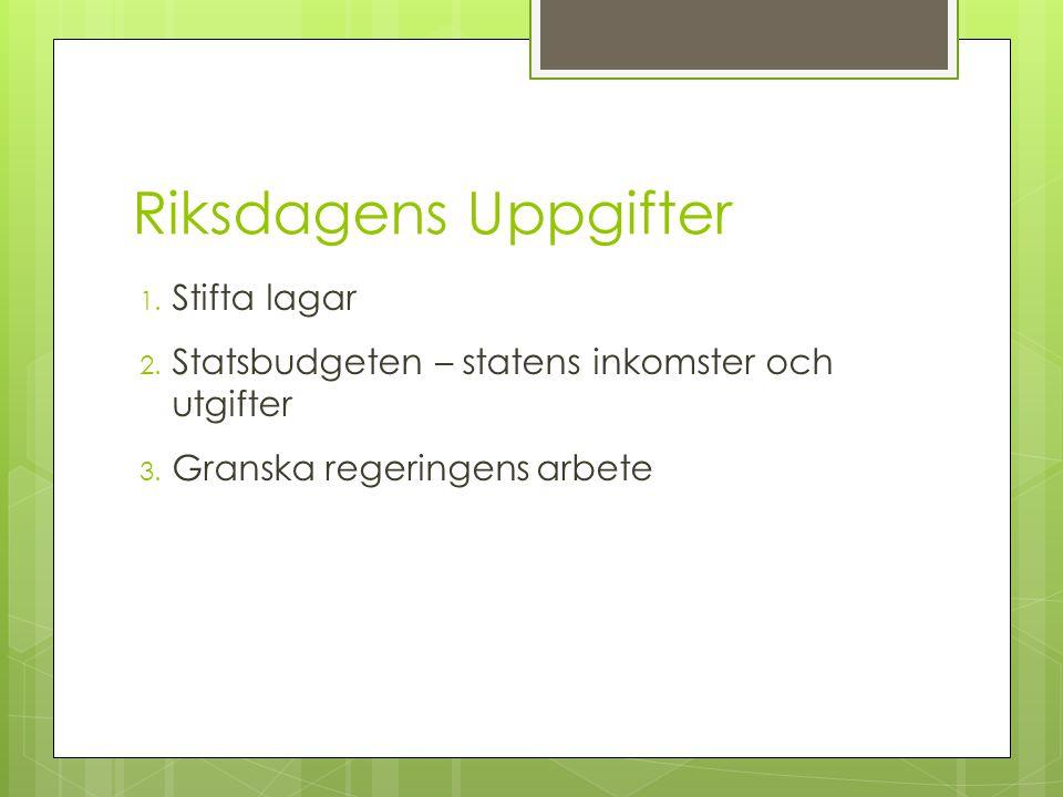 Riksdagens Uppgifter 1.Stifta lagar 2. Statsbudgeten – statens inkomster och utgifter 3.