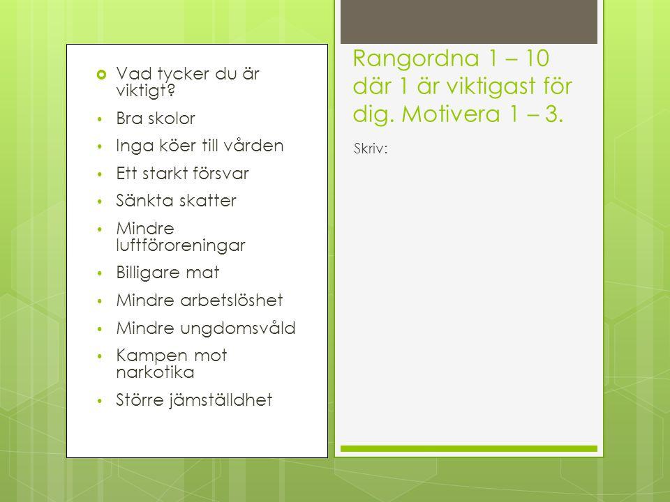 Vänsterblocket – Socialism – ArbetarpartiernaHögerblocket – Liberalism – Borgarna De rödgröna Allians för Sverige Vänsterpartiet (vp) Socialdemokraterna (s) Miljöpartiet (mp) Centerpartiet (c) Folkpartiet (fp) Moderaterna (m) Kristdemokraterna (kd) Utan blocktillhörighet Sverigedemokraterna (sd) Piratpartiet (pp) Junilistan (j)