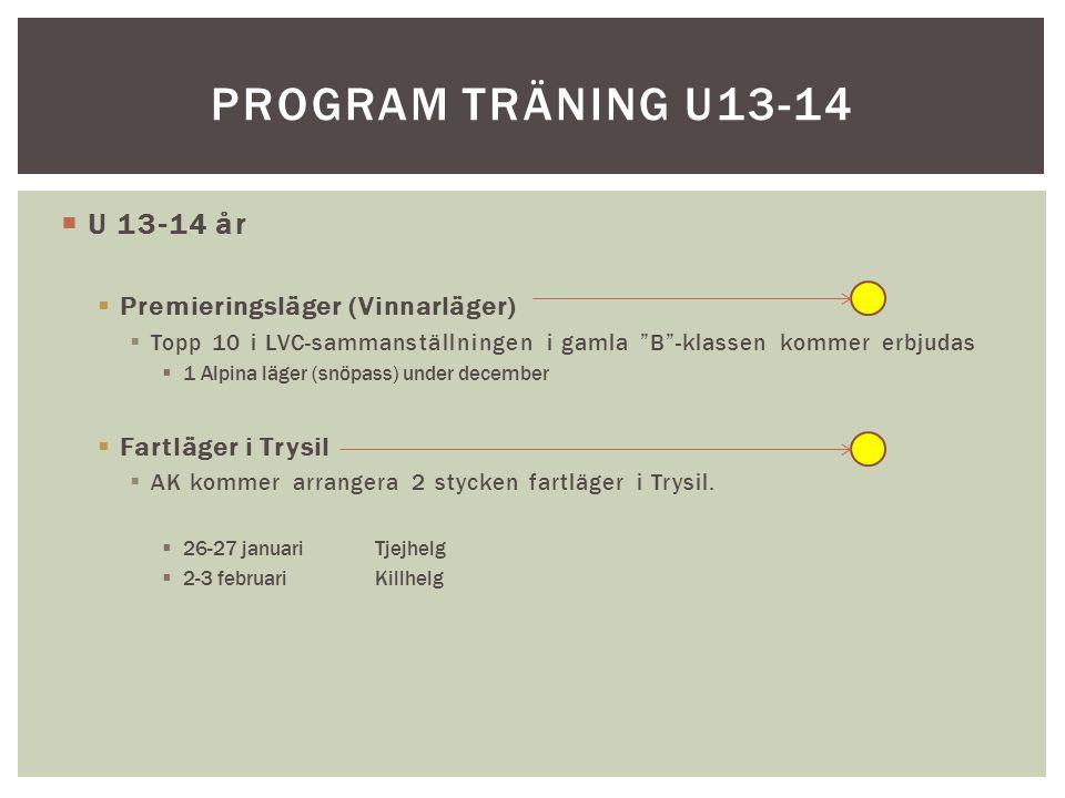  U 13-14 år  Premieringsläger (Vinnarläger)  Topp 10 i LVC-sammanställningen i gamla B -klassen kommer erbjudas  1 Alpina läger (snöpass) under december  Fartläger i Trysil  AK kommer arrangera 2 stycken fartläger i Trysil.