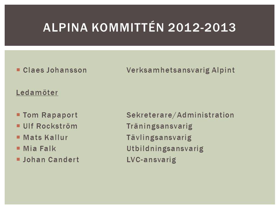  Claes JohanssonVerksamhetsansvarig Alpint Ledamöter  Tom RapaportSekreterare/Administration  Ulf RockströmTräningsansvarig  Mats KallurTävlingsansvarig  Mia FalkUtbildningsansvarig  Johan CandertLVC-ansvarig ALPINA KOMMITTÉN 2012-2013