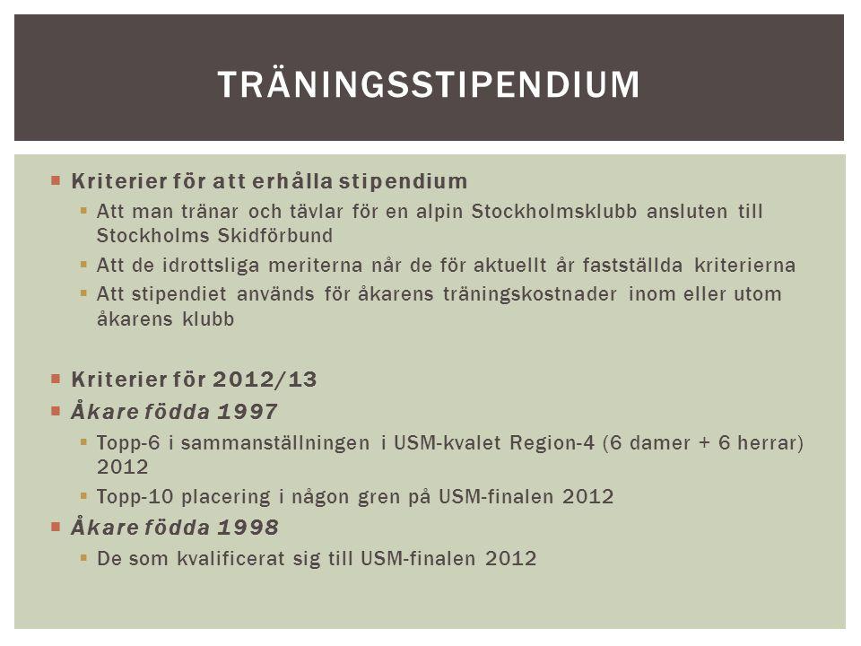  Kriterier för att erhålla stipendium  Att man tränar och tävlar för en alpin Stockholmsklubb ansluten till Stockholms Skidförbund  Att de idrottsliga meriterna når de för aktuellt år fastställda kriterierna  Att stipendiet används för åkarens träningskostnader inom eller utom åkarens klubb  Kriterier för 2012/13  Åkare födda 1997  Topp-6 i sammanställningen i USM-kvalet Region-4 (6 damer + 6 herrar) 2012  Topp-10 placering i någon gren på USM-finalen 2012  Åkare födda 1998  De som kvalificerat sig till USM-finalen 2012 TRÄNINGSSTIPENDIUM