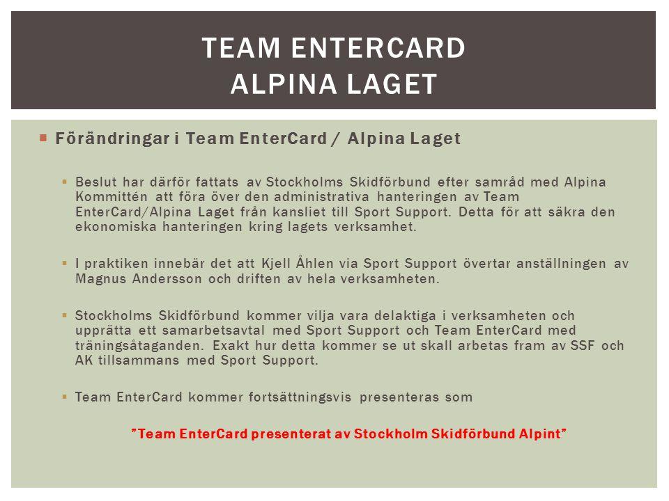 Förändringar i Team EnterCard / Alpina Laget  Beslut har därför fattats av Stockholms Skidförbund efter samråd med Alpina Kommittén att föra över den administrativa hanteringen av Team EnterCard/Alpina Laget från kansliet till Sport Support.