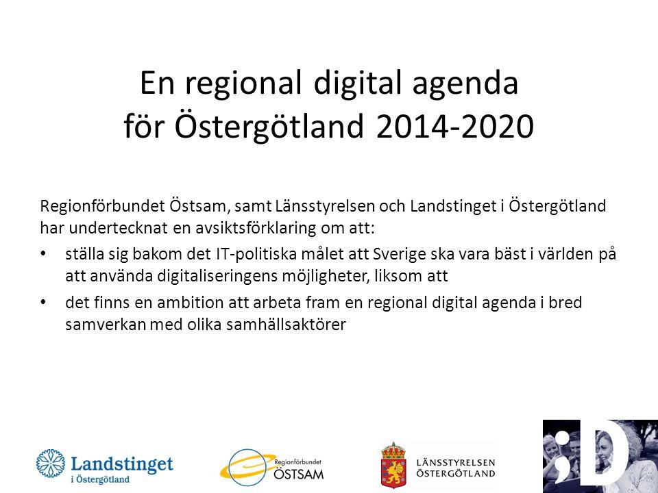 En regional digital agenda för Östergötland 2014-2020 Regionförbundet Östsam, samt Länsstyrelsen och Landstinget i Östergötland har undertecknat en avsiktsförklaring om att: • ställa sig bakom det IT-politiska målet att Sverige ska vara bäst i världen på att använda digitaliseringens möjligheter, liksom att • det finns en ambition att arbeta fram en regional digital agenda i bred samverkan med olika samhällsaktörer 3