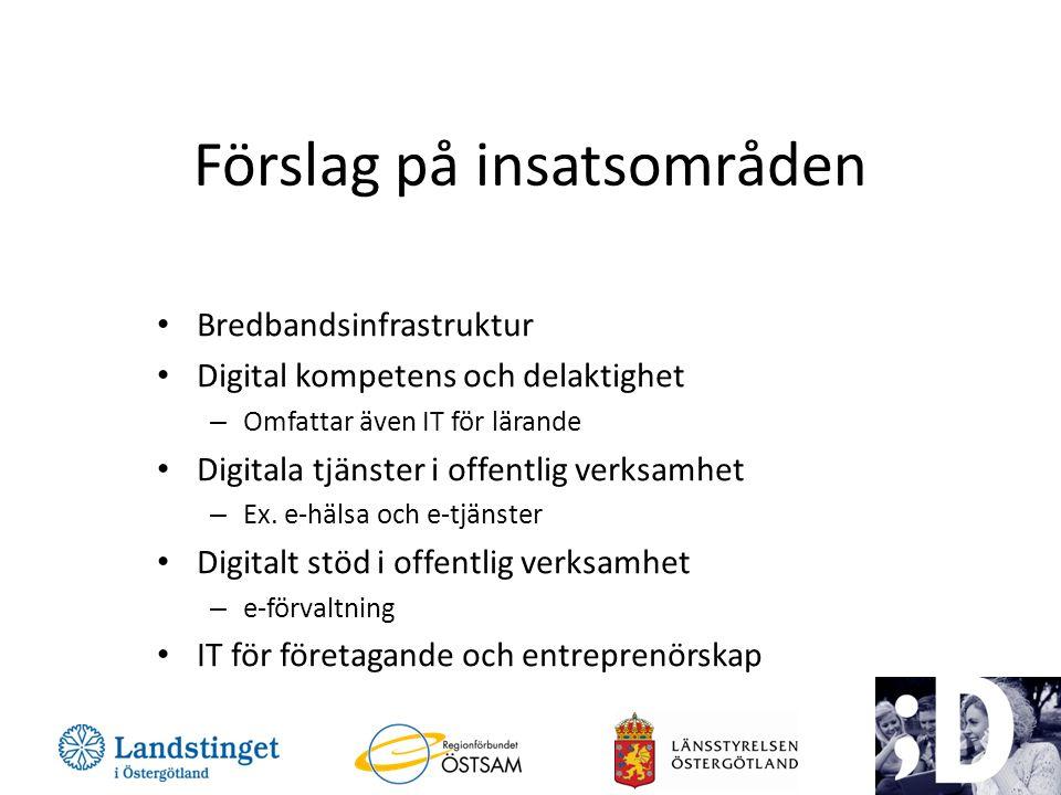 Förslag på insatsområden • Bredbandsinfrastruktur • Digital kompetens och delaktighet – Omfattar även IT för lärande • Digitala tjänster i offentlig verksamhet – Ex.
