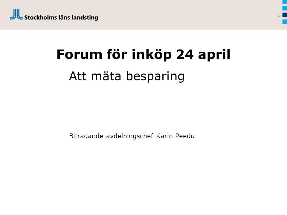 1 Forum för inköp 24 april Att mäta besparing Biträdande avdelningschef Karin Peedu