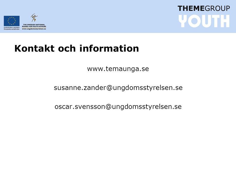 Kontakt och information www.temaunga.se susanne.zander@ungdomsstyrelsen.se oscar.svensson@ungdomsstyrelsen.se
