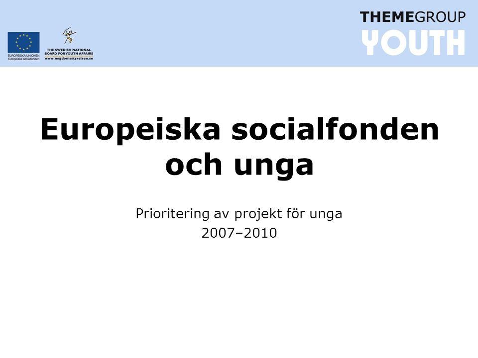 Europeiska socialfonden och unga Prioritering av projekt för unga 2007–2010