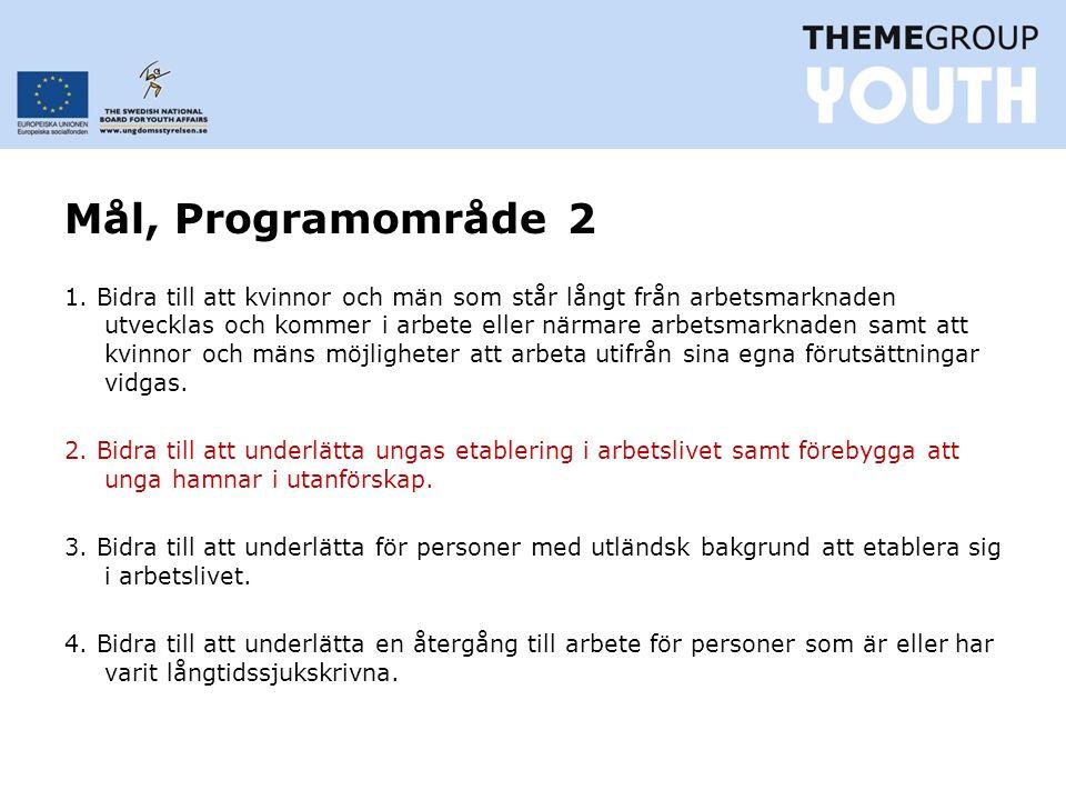 Mål, Programområde 2 1.