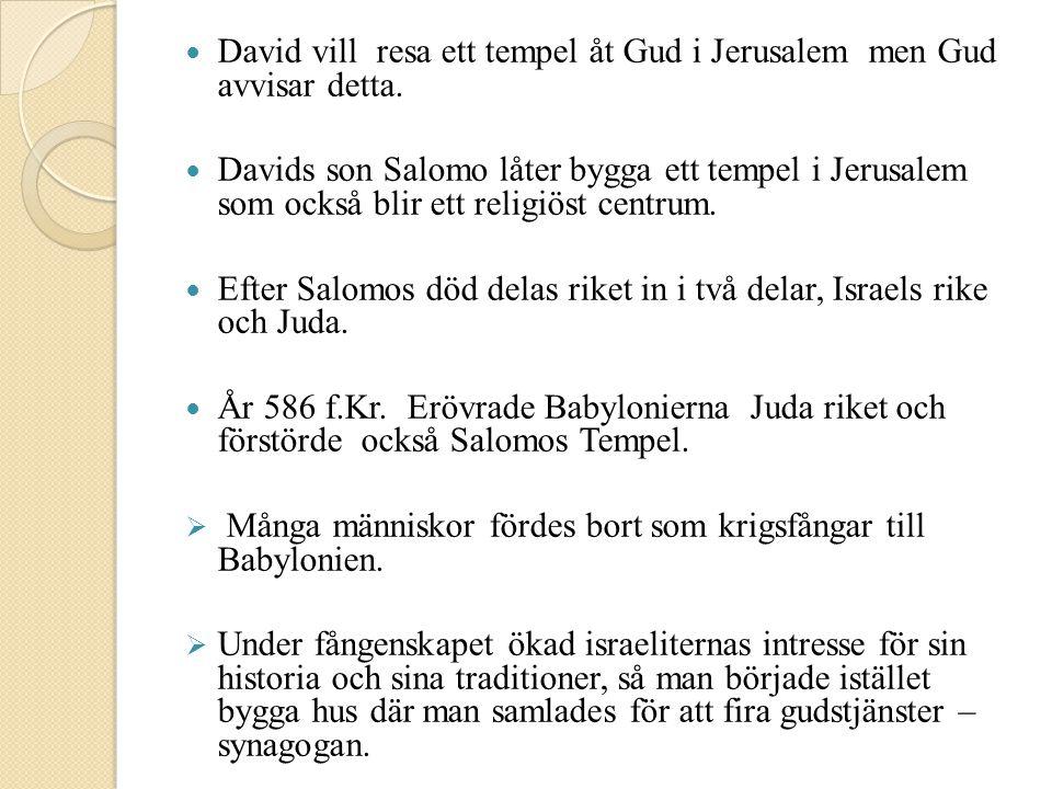  David vill resa ett tempel åt Gud i Jerusalem men Gud avvisar detta.  Davids son Salomo låter bygga ett tempel i Jerusalem som också blir ett relig