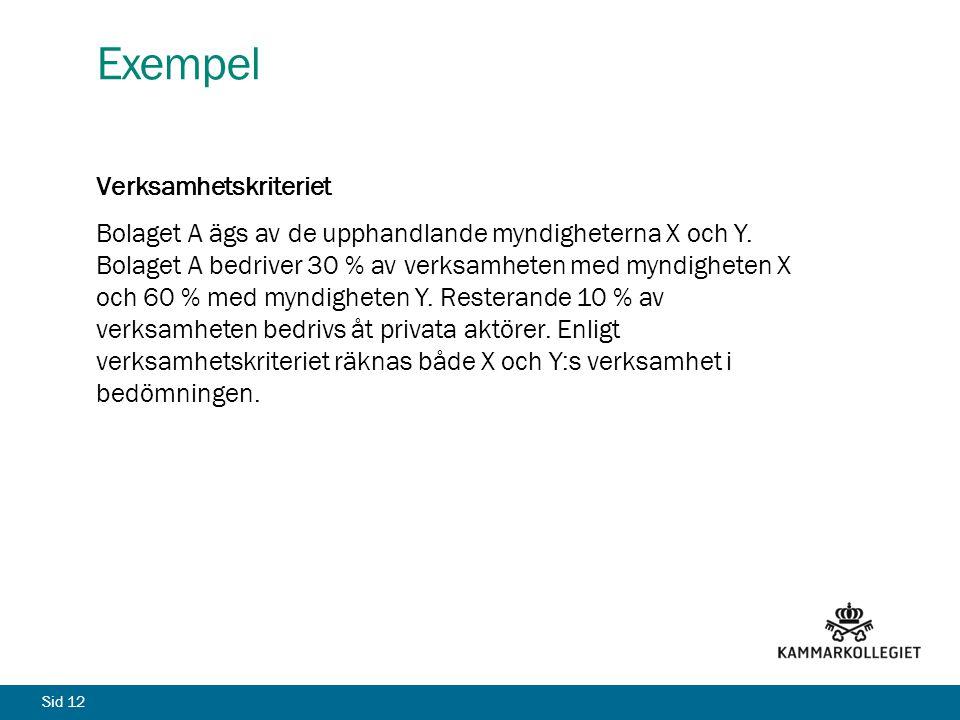 Sid 12 Exempel Verksamhetskriteriet Bolaget A ägs av de upphandlande myndigheterna X och Y.