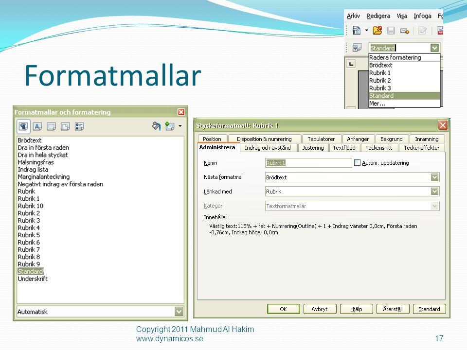 Formatmallar Copyright 2011 Mahmud Al Hakim www.dynamicos.se17