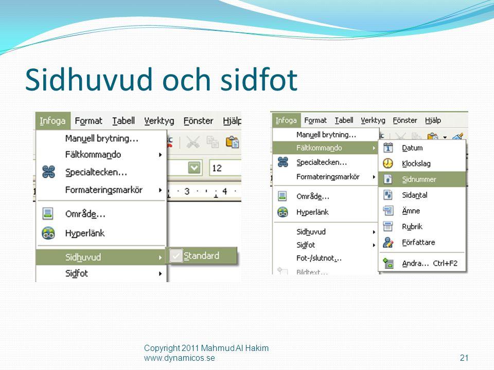 Sidhuvud och sidfot Copyright 2011 Mahmud Al Hakim www.dynamicos.se21