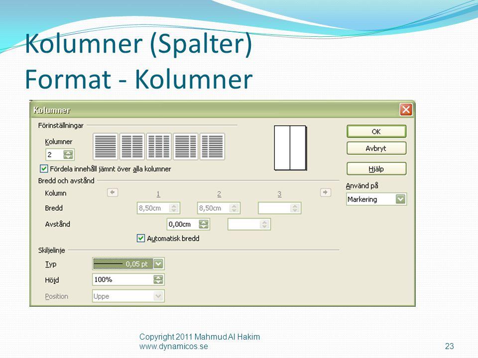Kolumner (Spalter) Format - Kolumner Copyright 2011 Mahmud Al Hakim www.dynamicos.se23