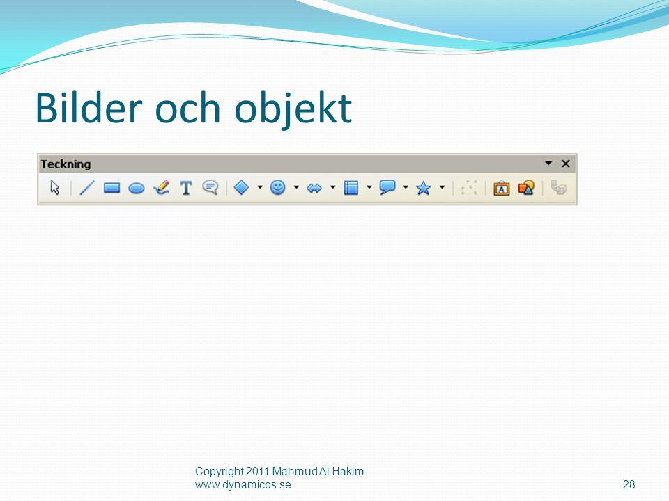 Bilder och objekt Copyright 2011 Mahmud Al Hakim www.dynamicos.se28