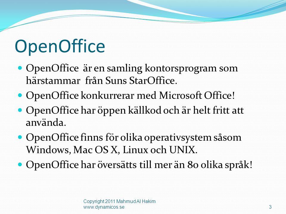 OpenOffice  OpenOffice är en samling kontorsprogram som härstammar från Suns StarOffice.  OpenOffice konkurrerar med Microsoft Office!  OpenOffice