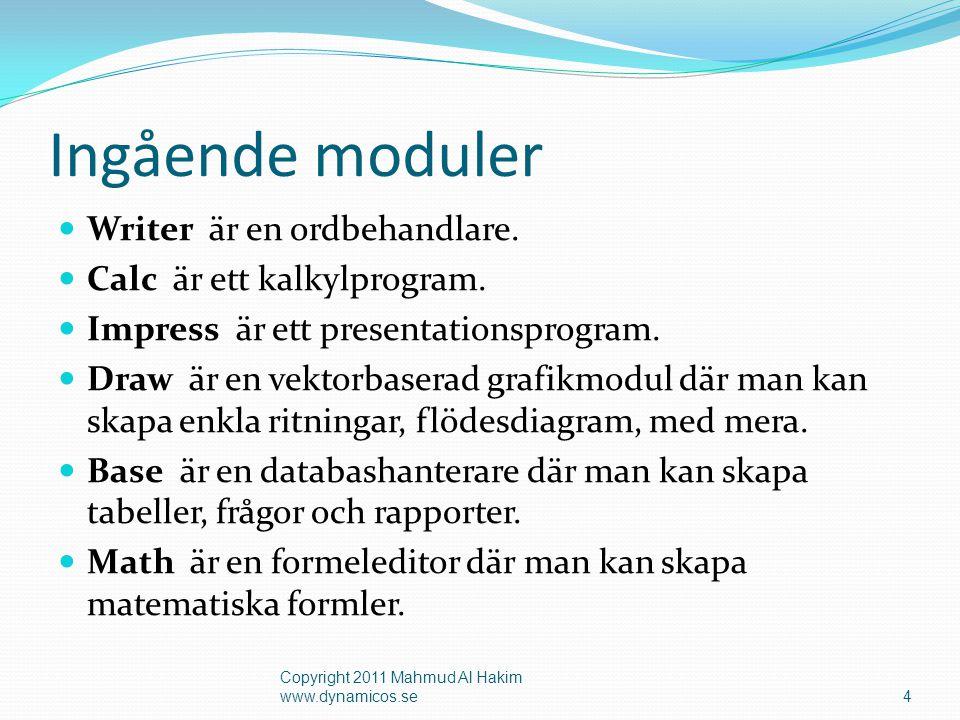 Ingående moduler  Writer är en ordbehandlare.  Calc är ett kalkylprogram.  Impress är ett presentationsprogram.  Draw är en vektorbaserad grafikmo