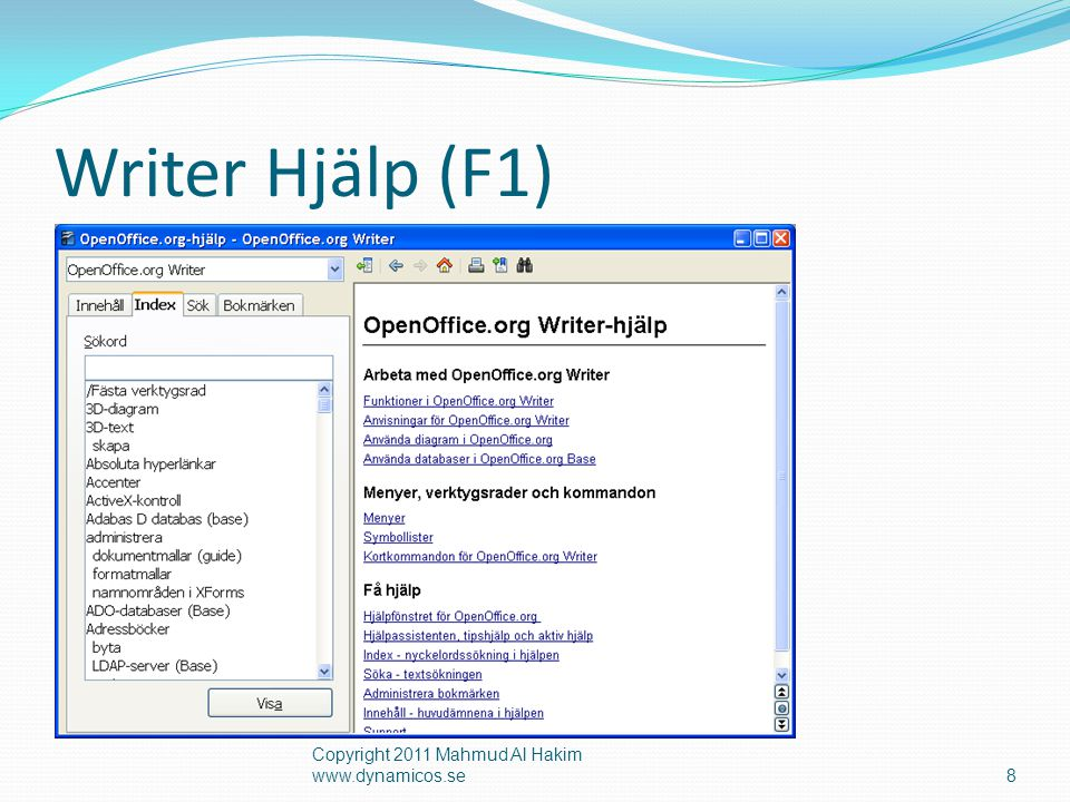 Writer Hjälp (F1) Copyright 2011 Mahmud Al Hakim www.dynamicos.se8