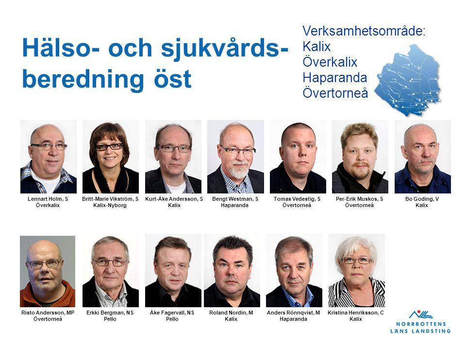 Hälso- och sjukvårds- beredning öst Verksamhetsområde: Kalix Överkalix Haparanda Övertorneå Lennart Holm, S Överkalix Britt-Marie Vikström, S Kalix-Ny