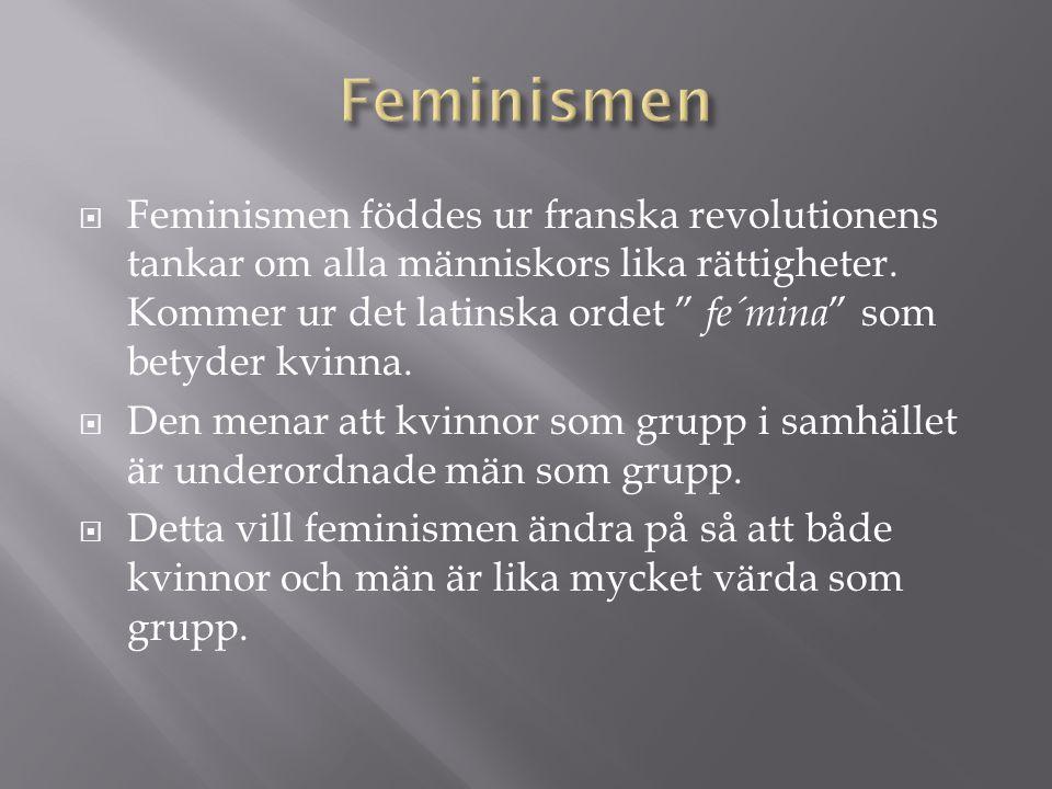 """ Feminismen föddes ur franska revolutionens tankar om alla människors lika rättigheter. Kommer ur det latinska ordet """" fe´mina """" som betyder kvinna."""