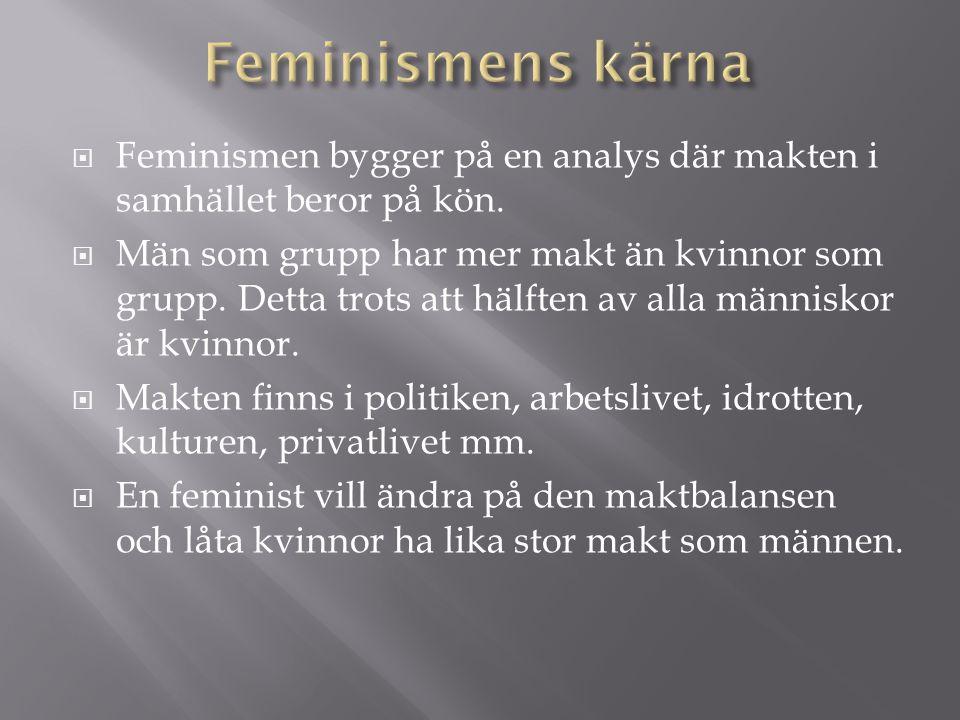  Feminismen bygger på en analys där makten i samhället beror på kön.  Män som grupp har mer makt än kvinnor som grupp. Detta trots att hälften av al