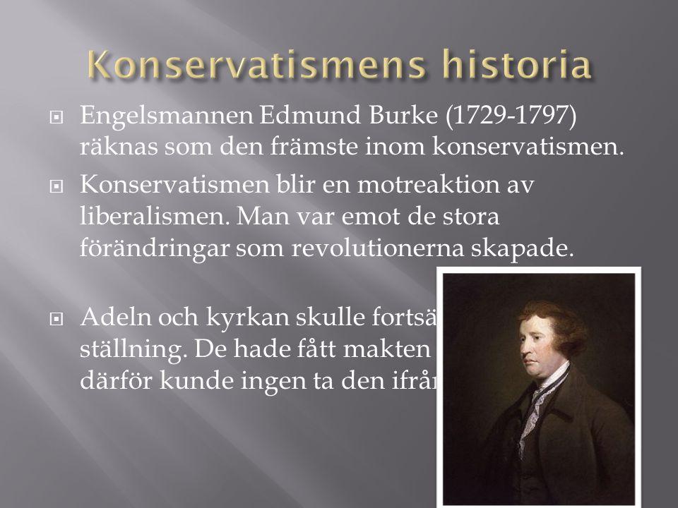  Engelsmannen Edmund Burke (1729-1797) räknas som den främste inom konservatismen.  Konservatismen blir en motreaktion av liberalismen. Man var emot